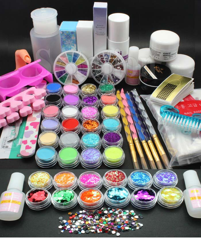Full-36-Acrylic-Powder-Liquid-Primer-UV-NAIL-ART-Dust-Sticker-Brush-TIP-KitS-Set